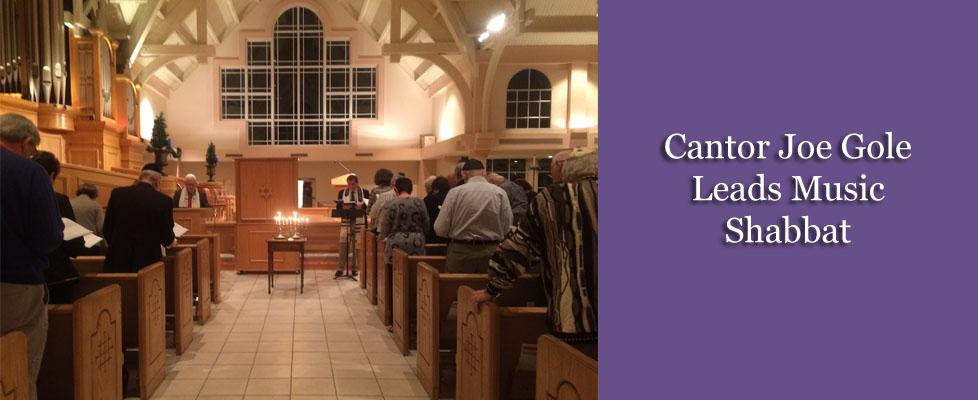 Cantor Joe Gole leads music Shabbat slide